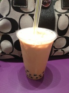 Milk bubble tea with boba