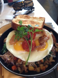 Confit Duck & Root Vegetable Hash, farm fresh eggs sunny side up (Mistral/Boston MA)