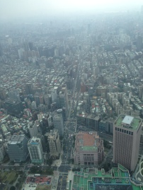 View of city from Taipei101 observation deck