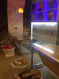 Bathtub table and toilet seats