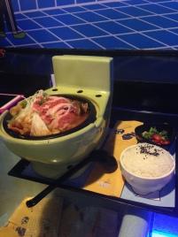 Hot pot in toilet bowl