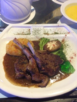 Lamb Chop on sink plate with fried pumkin